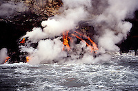 This 1995 lava flow reached the ocean in a spectacle of molten rock and steam. The flow continued for several months. Fernandina Island, Galapagos.
