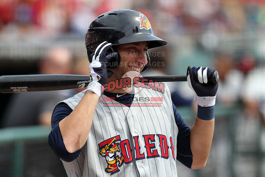 Toledo Mudhens outfielder Ben Guez #13 during a game against the Buffalo Bisons at Coca-Cola Field on August 17, 2011 in Buffalo, New York.  Buffalo defeated Toledo 4-2.  (Mike Janes/Four Seam Images)
