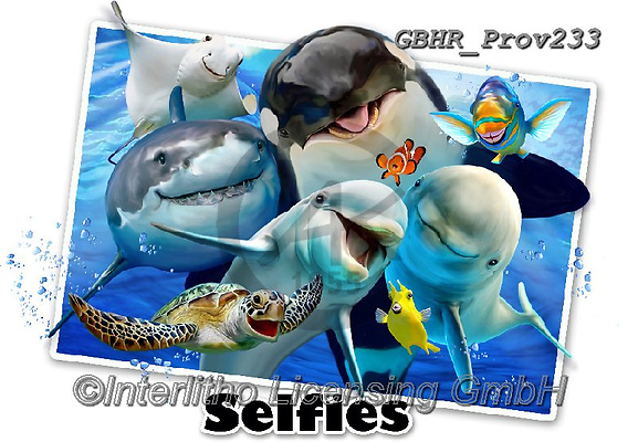 Howard, REALISTIC ANIMALS, REALISTISCHE TIERE, ANIMALES REALISTICOS, selfies, paintings+++++Ocean Selfie,GBHRPROV233,#a#, EVERYDAY ,unterwater,maritime,sharks, ,dolphoíne,dolphines,
