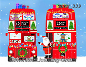 Kate, CHRISTMAS SANTA, SNOWMAN, WEIHNACHTSMÄNNER, SCHNEEMÄNNER, PAPÁ NOEL, MUÑECOS DE NIEVE, paintings+++++London bus front & back with snow,GBKM339,#x# ,bus