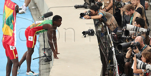 14.08.2016. Rio de Janeiro, Brazil. Kirani James (L) and Bralon Taplin of Grenada pose in front of photographers after the Men's 400m Final of the Athletic, Track and Field events during the Rio 2016 Olympic Games at Olympic Stadium in Rio de Janeiro, Brazil, 14 August 2016.