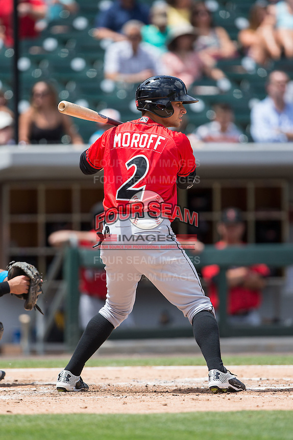 Max Moroff (2) of the Indianapolis Indians at bat against the Charlotte Knights at BB&T BallPark on June 19, 2016 in Charlotte, North Carolina.  The Indians defeated the Knights 6-3.  (Brian Westerholt/Four Seam Images)
