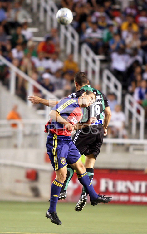Yura Movisisyan and Rafael Alejandro Figueroa in the 4-1  Santos Laguna win at Rice Eccles Stadium in Salt Lake City, Utah on  July 9, 2008.