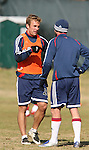16 November 2007: Taylor Twellman (l) with Jay Heaps (r). The New England Revolution practiced at the RFK Stadium Auxiliary Field in Washington, DC two days before playing in MLS Cup 2007, Major League Soccer's championship game.