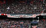 Nederland, Amsterdam, 7 februari 2016<br /> Eredivisie<br /> Seizoen 2015-2016<br /> De Klassieker <br /> Ajax-Feyenoord<br /> VAK410 heeft een spandoek opgehangen met de tekst: 'Johnny, een echte Ajacied, Heitinga'. Dit in verband met het afscheid van John Heitinga, die een punt achter zijn voetbalcarriere heeft gezet.
