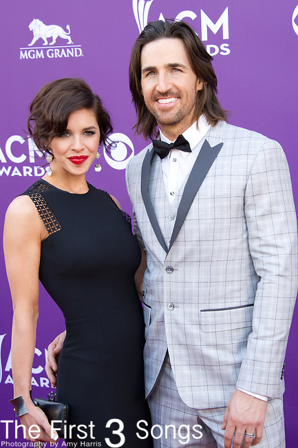 Jake Owen and Lacey Buchanan Owen attend the 48th Annual Academy of Country Music Awards in Las Vegas, Nevada on April 7, 2012.