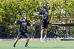 Orange, CA 05/17/14 - Jack Cranston (Colorado #1) and Riley Seidel (Colorado #22) in action during the 2014 MCLA Division I Men's Lacrosse Championship game between Arizona State and Colorado at Chapman University in Orange, California.  Colorado defeated Arizona State 13-12.