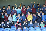 1310/2015   Action from Sixmilebridge where Sr Flannen's College took on Castletroy College in the Harty Cup.  Our photograph shows a section of the St Flannan&rsquo;s fans.<br />