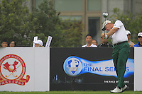 Ernie Els (RSA) tees off the 10th tee during Saturay's Round 3 of the 2014 BMW Masters held at Lake Malaren, Shanghai, China. 1st November 2014.<br /> Picture: Eoin Clarke www.golffile.ie