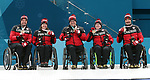 Pyeongchang, Korea, 17/3/2018--Marie Wright, Dennis Thiessen, Mark Ideson, Ina Forrest  Jaime Aneseuw, competes in the bronze medal game of wheelchair curling during the 2018 Paralympic Games. Photo: Scott Grant/Canadian Paralympic Committee.