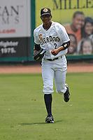 Charleston Riverdogs outfielder Eduardo Sosa in the field during a game against the Delmarva Shorebirds at Joseph P. Riley Ballpark in Charleston, South Carolina on July 10, 2011. Charleston defeated Delmarva 2-0.   Robert Gurganus/Four Seam Images