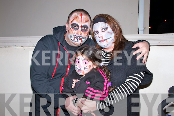 Trick or Treating in Listowel on Halloween night were Rebecca Sparks and her parents Shane Barry and Jessica Sparks from Listowel.