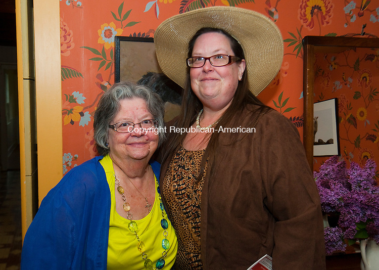 WOODBURY CT-050717JS02- Marie Light, left, with her daughter, Anna Light , both of Waterbury, during the Flanders Nature Center's 1920's themed Farm Tea held at the Flanders Nature Center in Woodbury. <br /> Jim Shannon Republican-American