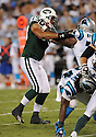 RAPATI PITOITUA, of the New York Jets in action during the Jets game against the Carolina Panthers  at Bank of America Stadium in Charlotte, N.C.  on August 21, 2010.  The Jets beat the Panthters 9-3 in the second week of preseason games...