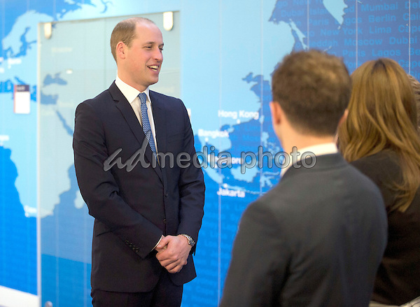 16 February 2016 - London, England - Prince William Duke of Cambridge meets staff in the crisis response centre room as he visits the Foreign and Commonwealth Office (FCO), in London. During the visit Tuesday to mark the first anniversary year of the FCO's Diplomatic Academy, William gave a speech, presented awards and visited the crisis centre room to see how their staff respond in the aftermath of international deadly attacks or natural disasters. Photo Credit: Alpha Press/AdMedia