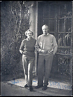 BNPS.co.uk (01202 558833)Pic: Rowley's/BNPS<br /> <br /> Daphne du Maurier and her husband Lieutenant General Sir Frederick 'Boy' Browning at Menabilly in 1956 - their home near Fowey in Cornwall that inspired Manderley in her famous novel Rebecca.<br /> <br /> Two previously unknown poems by celebrated writer Daphne du Maurier have been discovered hidden inside a photograph frame.<br /> <br /> They are believed to have been penned in the late 1920s, when she was in her early 20s and an unknown in the literary world.<br /> <br /> The poems were written on a carefully folded sheet of A4 paper concealed within a 5ins high blue leather frame which contained a photo of du Maurier in a swimming costume. <br /> <br /> They were uncovered by an eagle-eyed auctioneer who has been tasked with selling an archive of du Maurier's letters and photos, which includes snaps with the Royals.