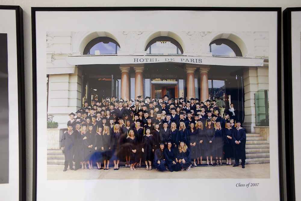 Class graduation photo of 2007 in front of the Hotel de Paris on the wall of a corridor in the International University of Monaco, Fontvieille, Monaco, 19 April 2013