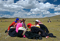 "During the annual Horse racing festival at Naqu these girls have dressed up for the festivities, it is the highest Horse racing festival in the world at 4500 meters, ""the sky is so close"""