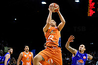 Sharks' Hyrum Harris in action during the  NBL - Cigna Saints v Southland Sharks at TSB Bank Arena, Wellington, New Zealand on Thursday 25 April 2019. <br /> Photo by Masanori Udagawa. <br /> www.photowellington.photoshelter.com