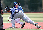 Wildcats shortstop Kody Reynolds makes the tag on Utah State University Eastern's Hadley Thorpe in a run-down play at Western Nevada College in Carson City, Nev., on Saturday, April 25, 2015. WNC won 7-1. <br /> Photo by Cathleen Allison/Nevada Photo Source