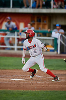 Torii Hunter (2) of the Orem Owlz bats against the Ogden Raptors at Home of the Owlz on September 11, 2017 in Orem, Utah. Ogden defeated Orem 7-3 to win the South Division Championship. (Stephen Smith/Four Seam Images)