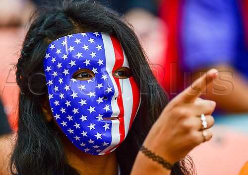21.02.2016. Houston, TX, USA. A Team USA fan during the Women's Olympic qualifying soccer final between Canada and USA at BBVA Compass Stadium in Houston, Texas.