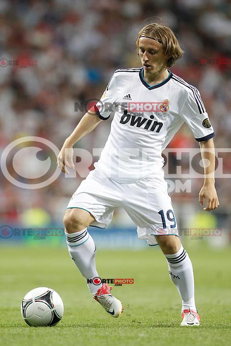 Real Madrid's Luka Modric during Spanish Supercup 2nd match on august 29 2012...Photo: Cebola / Cid-Fuentes / ALFAQUI /NortePhoto.com<br /> <br /> **CREDITO*OBLIGATORIO** <br /> *No*Venta*A*Terceros*<br /> *No*Sale*So*third*<br /> *** No*Se*Permite*Hacer*Archivo**<br /> *No*Sale*So*third*