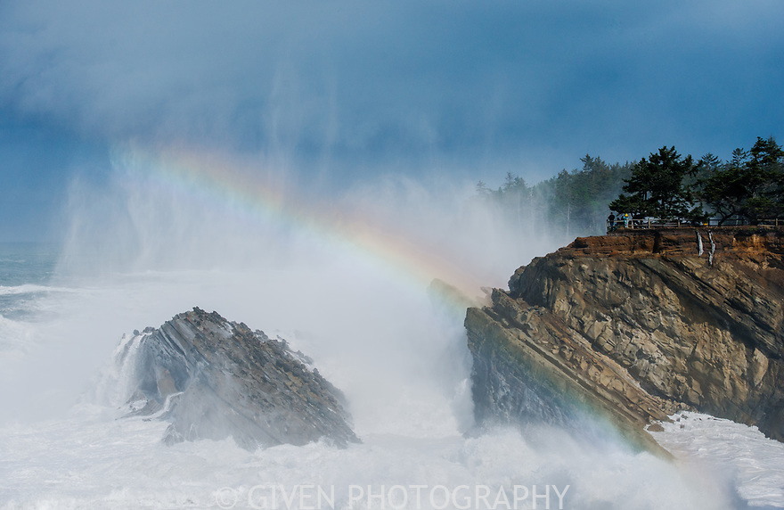 Surf and Rainbow, Shore Acres Sate Park, Oregon