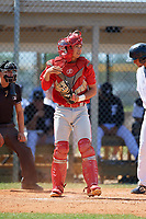 Philadelphia Phillies catcher Micah Yonamine (18) during an Instructional League game against the Detroit Tigers on September 19, 2019 at Tigertown in Lakeland, Florida.  (Mike Janes/Four Seam Images)