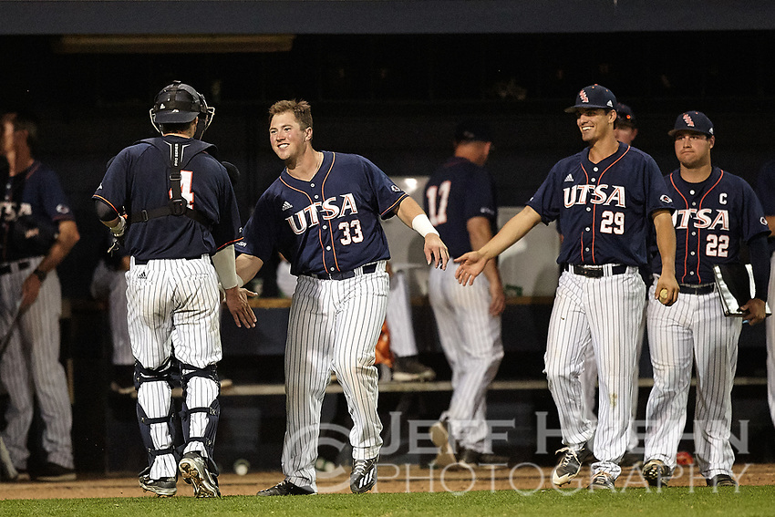 SAN ANTONIO, TX - MARCH 10, 2018: The University of Texas at San Antonio Roadrunners split a double header with the Columbia University Lions at Roadrunner Field losing Game One 11-7 and coming back in the bottom of the ninth to win Game Two 3-2. (Photo by Jeff Huehn)