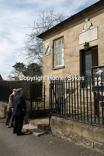 Barmote Court. Moot Hall Wirksworth Derbyshire. The Lead Miners arrive to attend the court in the Moot Hall.