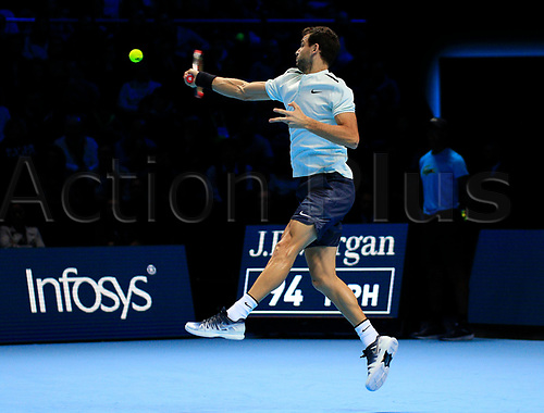 18th November 2017, O2 Arena, London, England; Nitto ATP Tennis Finals; Grigor Dimitrov (BUL) plays a forehand shot in his mach with Jack Sock (USA)