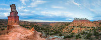 The Lighthouse stands out prominently in this panorama taken in Palo Duro Canyon State Park. The clouds would soon light up on this cool, calm evening, and the views were incredible from this little plateau above the canyon floor.