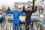 First Home<br /> --------------<br /> Fergus O'Meara (Lt) from killoqglin and his co driver Brian Doherty celebrate at the finish ramp after winning the John Mullane cup for the highest Kerry placed crew in last weekend's Cartell.ie Rally of the Lakes in Killarney