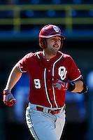 Anthony Hermelyn #9 of the Oklahoma Sooners runs to first base during a baseball game against the UCLA Bruins at Jackie Robinson Stadium on March 9, 2013 in Los Angeles, California. (Larry Goren/Four Seam Images)