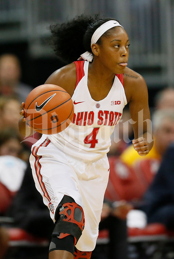 Ohio State Buckeyes guard/forward Sierra Calhoun (4) in action in the first half of a NCAA women's basketball game between the Ohio State Buckeyes and the Minnesota Golden Gophers on Wednesday, December 28, 2016, at Value City Arena. (Columbus Dispatch photo by Fred Squillante)