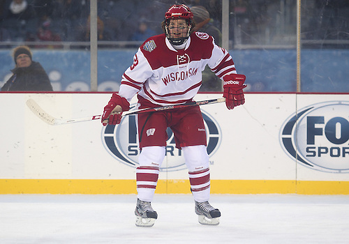 February 17, 2013:  Wisconsin forward Derek Lee (23) during NCAA Hockey game action between the Minnesota Golden Gophers and the Wisconsin Badgers at Soldier Field in Chicago, Illinois.  Wisconsin defeated Minnesota 3-2.