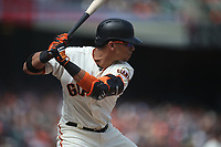 SAN FRANCISCO, CA - MAY 16:  Gorkys Hernandez #7 of the San Francisco Giants bats against the Cincinnati Reds during the game at AT&T Park on Wednesday, May 16, 2018 in San Francisco, California. (Photo by Brad Mangin)