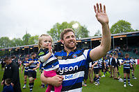Dave Attwood of Bath Rugby waves to the crowd after the match. Aviva Premiership match, between Bath Rugby and Gloucester Rugby on April 30, 2017 at the Recreation Ground in Bath, England. Photo by: Patrick Khachfe / Onside Images