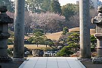 View from the Shinto shrine across the Suizen-ji garden, Kumamoto, Japan created in 1632.