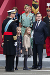 King Felipe VI of Spain, Princess Sofia of Spain, Princess Leonor of Spain and President of the Goberment of Spain Mariano Rajoy during Spanish National Day military parade in Madrid, Spain. October 12, 2015. (ALTERPHOTOS/Victor Blanco)