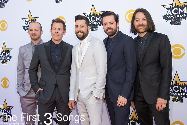 Whit Sellers, Trevor Rosen, Matthew Ramsey, Brad Tursi and Geoff Sprung of Old Dominion attend the 50th Academy Of Country Music Awards at AT&T Stadium on April 19, 2015 in Arlington, Texas.