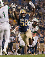 Pitt defensive lineman Shakir Soto. The Pitt Panthers defeated the Marshall Thundering Herd 43-27 on October 1, 2016 at Heinz Field in Pittsburgh, Pennsylvania.