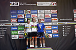 Anna Van Der Breggen (NED) wins the Women Elite Road Race of the 2018 UCI Road World Championships with Amanda Spratt (AUS) in 2nd place and Tatiana Guderzo (ITA) 3rd, running 156.2km from Kufstein to Innsbruck, Innsbruck-Tirol, Austria 2018. 29th September 2018.<br /> Picture: Innsbruck-Tirol 2018/BettiniPhoto | Cyclefile<br /> <br /> <br /> All photos usage must carry mandatory copyright credit (&copy; Cyclefile | Innsbruck-Tirol 2018/BettiniPhoto)