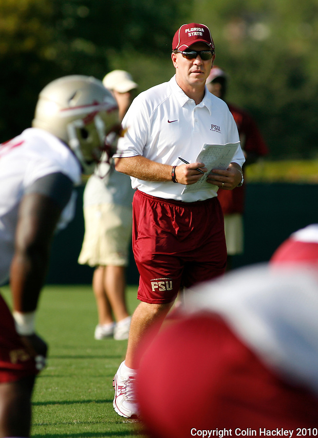 TALLAHASSEE, FL 8/5/10 FSU 080510 CH-Florida State Head Coach Jimbo Fisher during the first day of practice Thursday in Tallahassee. .COLIN HACKLEY PHOTO