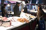Fish stall in Rialto Market, Venice, Italy.