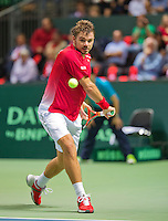 Switserland, Genève, September 18, 2015, Tennis,   Davis Cup, Switserland-Netherlands, Stan Wawrinka (SUI)<br /> Photo: Tennisimages/Henk Koster