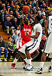 17 January 2010: Boston University Terriers' forward/guard John Holland, a Junior from the Bronx, NY, in action against the University of Vermont Catamounts at Patrick Gymnasium in Burlington, Vermont. The Catamounts, holding the lead for the entire game, defeated the Terriers 78-58. Mandatory Credit: Ed Wolfstein Photo