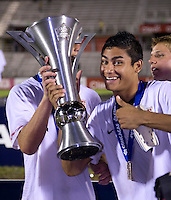 Mario Rodriguez, trophy. The United States defeated Canada, 3-0, during the final game of the CONCACAF Men's Under 17 Championship at Catherine Hall Stadium in Montego Bay, Jamaica.