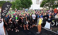Athletes line up to start the 2015 Wisconsin Ironman on Sunday, September 13, 2015 in Madison, Wisconsin